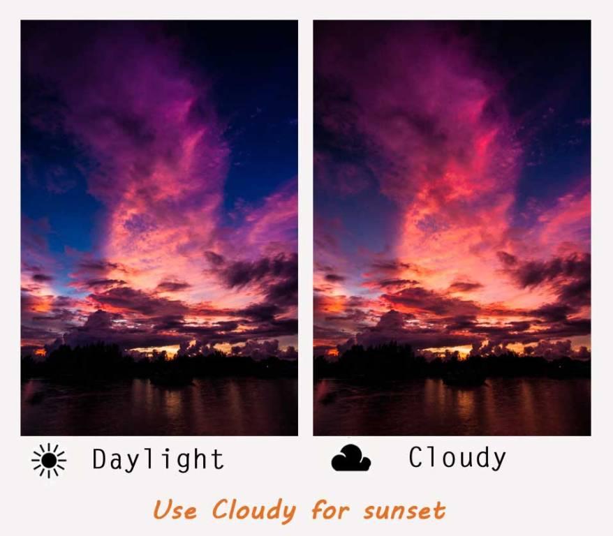 sunset white balance